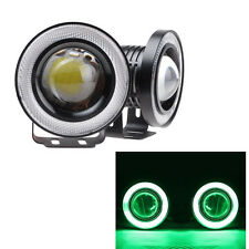 NEW  2 x 3'' Angel Eyes Halo Car Green Fog Light Lamp Projector DRL W/ COB LED
