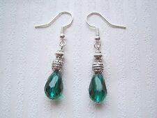 EMERALD GREEN STACK TEARDROP FACETED CRYSTAL GLASS Glitzy Bead Earrings Tear