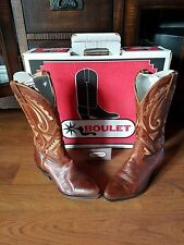 Beautiful Womens Brown Boulet Western boots Size 5 1/2 made in Canada hand made