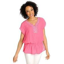 NEW - OSO Casuals Woven Gauze Cap Sleeved Drop Waist Embellished Top - SZ. 1X