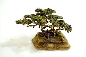 ROB HOLT Signed Bronze Cypress / Bonsai Tree Sculpture mounted on stone