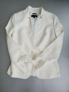 Talbot's Aberdeen Size 6 White Linen Notched Collar Lined One Button Blazer NWOT