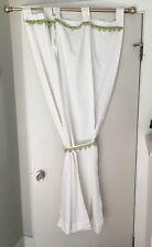 """Casual Home Pom Pom Curtains Drapes White Green 40"""" x 65"""" Set (4)"""