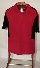 Pga Tour Mens Airflux Short Sleeve Polo Red Black Colour Block Polyester Xl