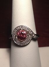 Natural Pink Zircon & Genuine Diamond 10K White Gold Ring