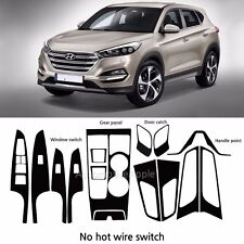 Carbon Fabric Window Switch Door catch Decal Sticker For Hyundai Tucson TL