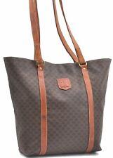 Authentic CELINE Macadam Pattern Shoulder Tote Bag PVC Leather Brown A3604