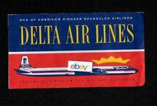 DELTA AIRLINES 1958 TICKET JACKET DC-7 SERVING 60 CITIES IN THE US & CARIBBEAN