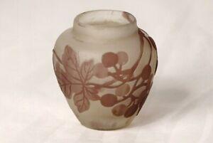 Small Vase Pâte de Verre Emile Galle Harebells Vine Grape New Art 19th
