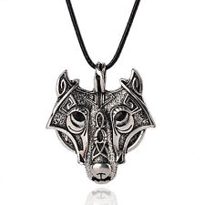 Retro Vintage Mens Stainless Steel Wolf Animal Head Pendant Necklace Chain Gift