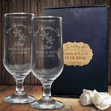 Personalised Footed Beer Glass Set Engraved Groomsman Birthday Man Cave Present