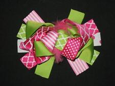 """New """"Hot Pink & Lime Quatrefoil"""" Fur Hairbow Alligator Clips Girls Ribbon Bows"""