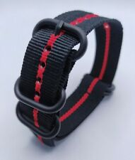 22 mm Nato Strap Correa Reloj Nylon Watch band Negro y rojo Black & Red