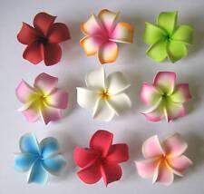 Set of 9 ~ Hawaiian Hawaii Bridal Wedding Party Plumeria Foam Flower Hair Clips