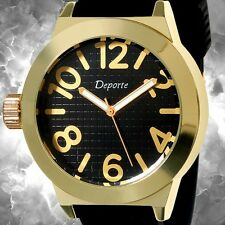 Deporte Mens Left-Handed Sport Watch Black Dial Gold numbers Japan Mov Watch New