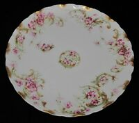 Haviland Limoges France Bread Plate, Pink Flowers, Green Lattice, Gold Scalloped