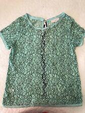 Ann Taylor Loft Large Lace Blouse Mint Green Black Back Zipper Top XS