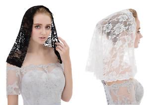 Beautiful Short shoulder length Floral Lace Veil Scarf mantilla headcover