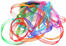 10 m Bag of 8 mm wide Organza Space Dyed Ribbon with Bright Colours