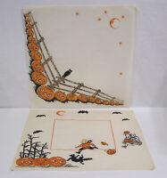 "Vintage (Two) Halloween Crepe Napkin JOL, Bats, Cat, Owl Kids 13"" Square"