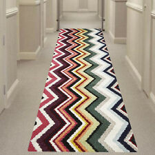 MULTI-COLOURED ZIGZAG HALL RUNNER Hallway Carpet Rug NEW 80x400cm