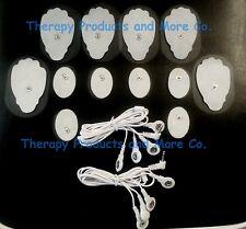 PAIR 4 WAY ELECTRODE CABLES(3.5mm)+ 6LG+6SM OVAL PADS for EROSTEK ESTIM TENS