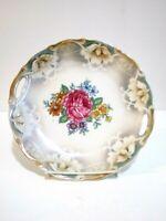 """Vintage Bavaria Lusterware Decorative Plate Pink Orange Purple Blue Flowers 9"""""""