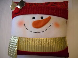 SNOWMAN CHRISTMAS PILLOW, SOFT VELVETY RED/GOLD/WHITE, ORANGE CARROT NOSE, NEW