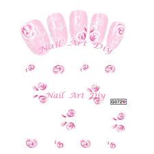20 stickers nail art water transfer -FLOWERS-unghie adesivi TATTOO fiori rosa!!!