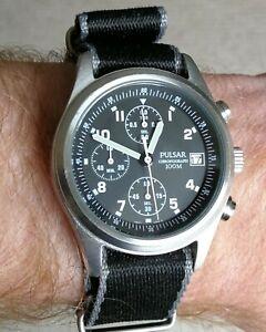 Pulsar Watch PJN305X1 civilian version of the RAF issue quartz chronograph