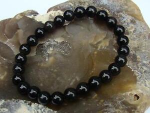 Natural Gemstone Men's Women's Elasticated bracelet 8mm BLACK OBSIDIAN beads