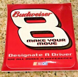"BUDWEISER Dale Earnhardt Jr #8 Vtg Orig Racing  4""X4"" Window Decal NASCAR UNUSED"