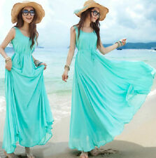 Crew Neck Chiffon Patternless Maxi Dresses for Women