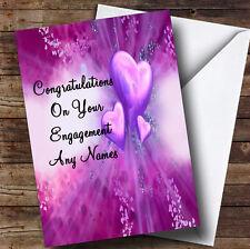 Purple Hearts Romantic Personalised Engagement Greetings Card
