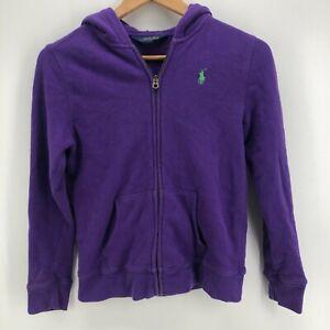 Polo Ralph Lauren Sweatshirt Youth XL Purple Hooded Full Zip Embroidered Pony