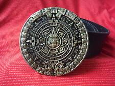 Maya Maya Calendario Azteca Alienigenas ancestrales Ufo Alien Dios hebilla y cinturón de cuero