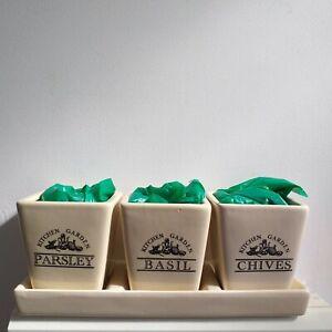 Windowsill Herb Plants Ceramic Pots & Tray With Seeds Kitchen Garden Gift Set