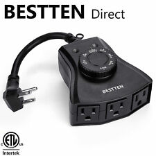 BESTTEN 3 Outlets Outdoor Countdown Timer w/ Photocell Light Sensor ETL Black