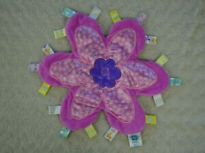 Taggies Flower Me Fun Lovey Security Blanket Pink Purple White A Monogram Floral