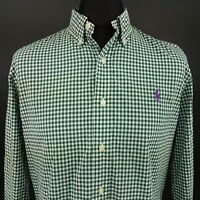 Polo Ralph Lauren Mens Shirt LARGE Long Sleeve Green SLIM FIT Check Cotton