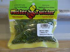 "Mr Twister 3"" Meeny Tail watermelon blue black & gold  20/pack"