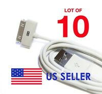 Lot of 10 USB Charger Data Sync Cable For Apple iPod iPhone 3GS 4 4S 4G White