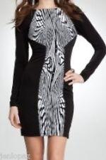 NWT Bebe white black long sleeve floral print bodycon party top dress XS 0 2
