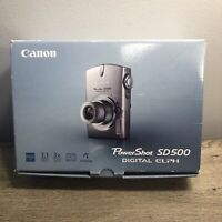 Canon Powershot SD500 7.1MP Digital Elph Camera with 3x Optical Zoom~~BUNDLE EUC