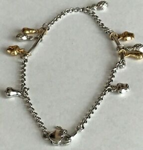 14k White with yellow  Gold Ankle Bracelet Anklet chain  10 inches Fruit Charms