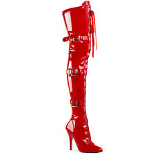 SEDUCE-3028 Pleaser High-Heels Overkneestiefel Schnürung drei Riemchen rot Lack