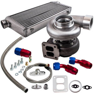 """GT45 Turbo Charger V-band T4 1.05 A/R+ 3"""" Intercooler + Oil Feed Return Line Kit"""