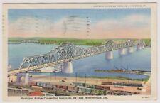 USA postcard - Municipal Bridge Connecting Louisville & Jeffersonville, Kentucky