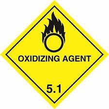 Health and Safety Hazard Sticker Oxidizing Agent 5.1 Sticker Yellow