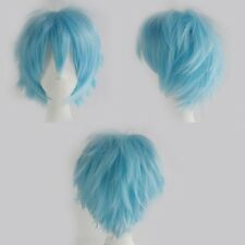 Women Men New Cosplay Party Short Wigs Blue Green White Costume Full Wig Layer h